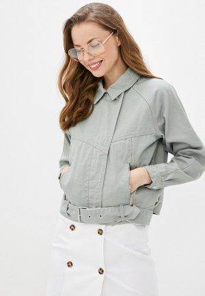 Куртка джинсовая Love Republic. Цвет: зеленый