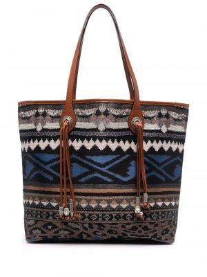 Жаккардовая сумка-тоут ETRO. Цвет: синий