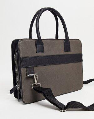 Портфель из кожи и парусины угольного черного цвета -Черный цвет ASOS DESIGN