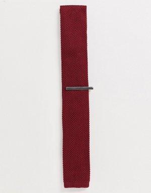 Однотонный трикотажный галстук и зажим для галстука -Красный Ben Sherman