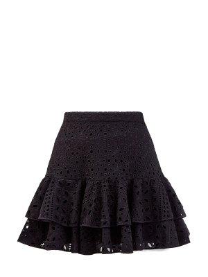 Короткая юбка Natalie из кружева broderie anglaise CHARO RUIZ IBIZA. Цвет: черный