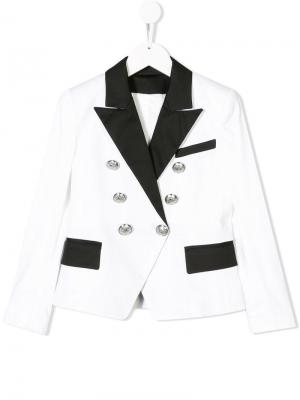 Двубортный вечерний пиджак Balmain Kids. Цвет: белый