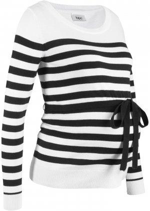 Пуловер хлопковый для беременных bonprix. Цвет: белый