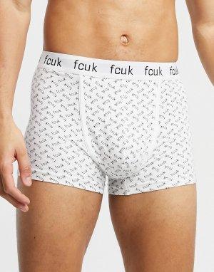 Боксеры-брифы со сплошным принтом логотипа FCUK -Белый French Connection