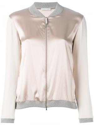 Куртка бомбер с эффектом металлик Fabiana Filippi. Цвет: телесный