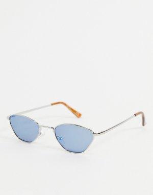 Маленькие солнцезащитные очки с серебристой угловатой оправой и синими стеклами -Серебристый ASOS DESIGN
