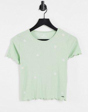 Зеленая футболка с короткими рукавами, волнистыми краями и цветочной отделкой -Зеленый цвет Hollister