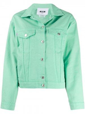 Джинсовая куртка с логотипом MSGM. Цвет: зеленый