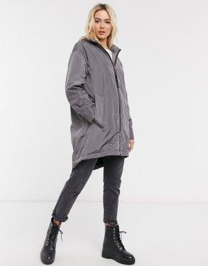 Серая куртка-дождевик с подкладкой из искусственного меха -Серый ASOS DESIGN