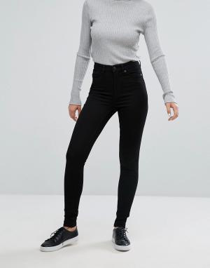 Черные джинсы скинни с завышенной талией из органического хлопка -Черный Monki