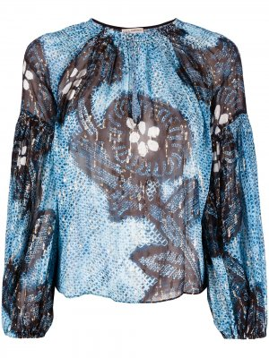 Блузка Sanya с вырезом-капелькой Ulla Johnson. Цвет: синий