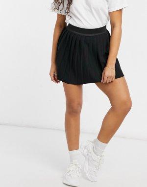 Черная спортивная трикотажная мини-юбка с плиссировкой -Черный цвет ASOS DESIGN