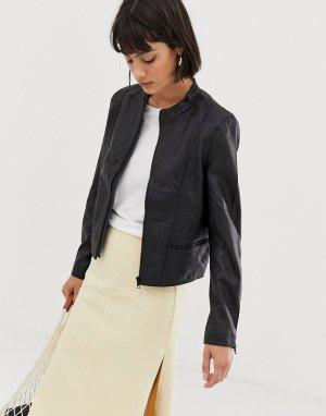 Кожаная куртка -Черный Selected