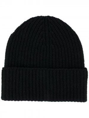 Кашемировая шапка бини в рубчик Agnona. Цвет: черный