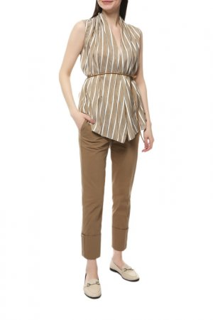 Блуза Brunello Cucinelli. Цвет: бежевый, белый, коричневый