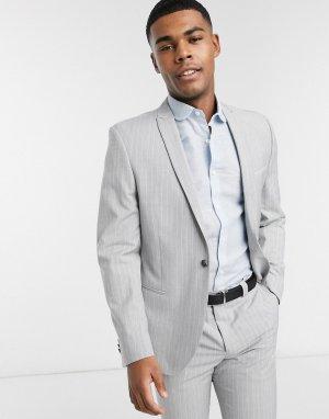 Серый приталенный пиджак в тонкую полоску из переработанного полиэстера Viggo