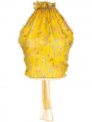 Блузка Balbina с вырезом халтер Alexis. Цвет: желтый
