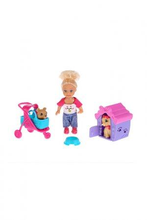 Набор: кукла, питомец, коляска Карапуз. Цвет: синий