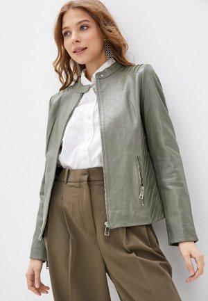 Куртка кожаная Снежная Королева. Цвет: зеленый
