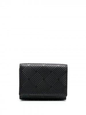 Фактурный кошелек на кнопке Bottega Veneta. Цвет: черный