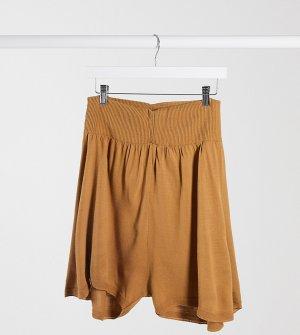 Бежевые трикотажные шорты -Бежевый Fashionkilla Maternity