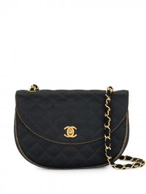 Стеганая сумка на плечо 1994-го года с ремнем-цепочкой Chanel Pre-Owned. Цвет: черный