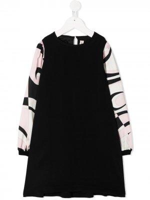 Платье с графичным принтом Emilio Pucci Junior. Цвет: черный