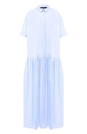Хлопковое платье Tegin. Цвет: голубой