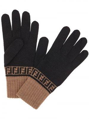 Трикотажные перчатки с узором FF Fendi. Цвет: черный