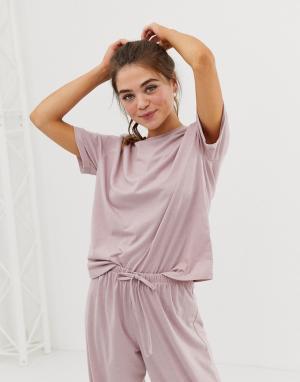 Трикотажная пижамная футболка mix & match ASOS DESIGN. Цвет: розовый