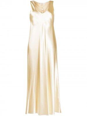 Платье миди Natasha с эффектом металлик The Row. Цвет: нейтральные цвета