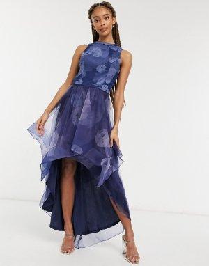 Темно-синее платье с цветочным принтом и ассиметричной юбкой из сетки Farcia-Темно-синий Chi London