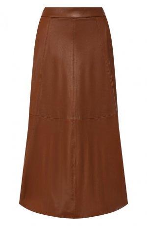 Кожаная юбка Polo Ralph Lauren. Цвет: коричневый