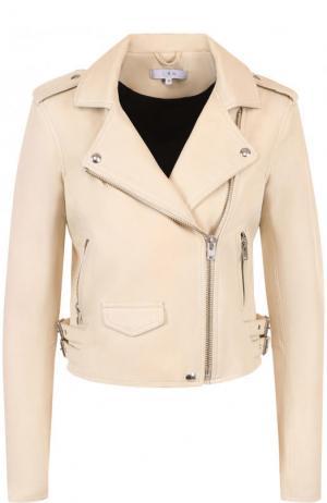 Укороченная кожаная куртка с косой молнией Iro. Цвет: светло-розовый