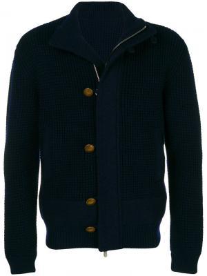 Фактурная куртка-бомбер Eleventy. Цвет: синий