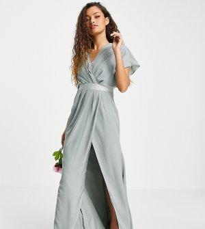 Оливковое платье макси со свободным воротом, короткими рукавами и пуговицами сзади ASOS DESIGN Petite Bridesmaid-Зеленый цвет