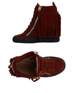 Высокие кеды и кроссовки GIUSEPPE ZANOTTI. Цвет: коричневый