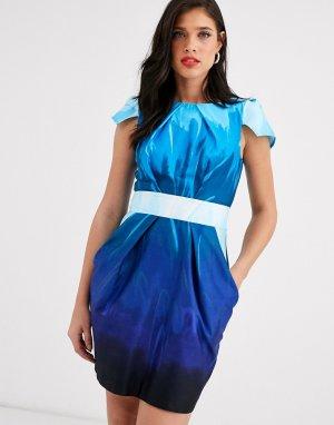 Платье-тюльпан мини с короткими рукавами Closet-Синий Closet London