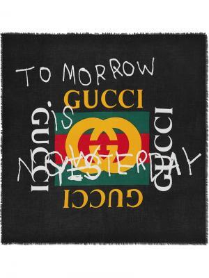 Шаль Coco Capitán с логотипом Gucci. Цвет: черный