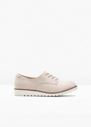 Ботинки на шнуровке bonprix. Цвет: бежевый