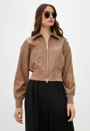 Куртка кожаная Love Republic. Цвет: коричневый