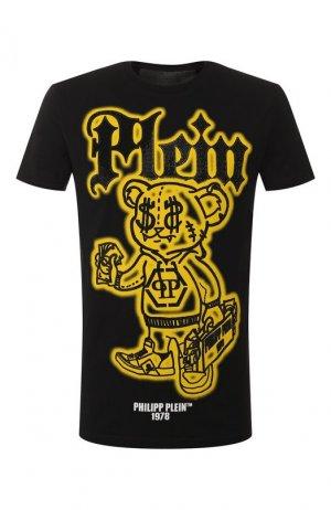Хлопковая футболка Philipp Plein. Цвет: чёрный