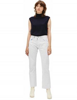 Прямые джинсы в белой краске Maison Margiela