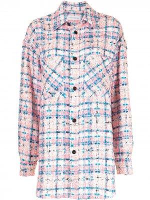 Твидовая рубашка оверсайз в клетку Faith Connexion. Цвет: розовый