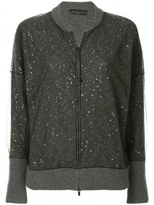 Трикотажная куртка-бомбер с пайетками Fabiana Filippi. Цвет: серый