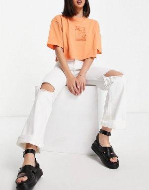 Белые эластичные джинсы клеш со рваной отделкой -Белый Bershka