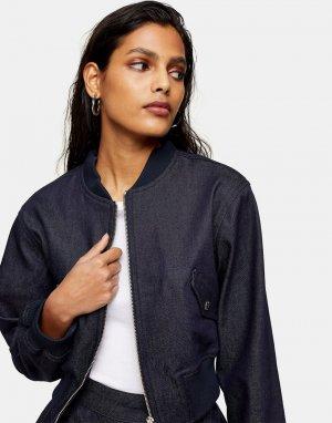 Джинсовая куртка-бомбер цвета индиго (от комплекта) -Голубой Topshop