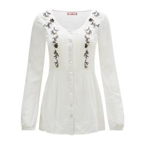 Рубашка с круглым вырезом, длинными рукавами вышивкой JOE BROWNS. Цвет: белый