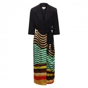 Платье из вискозы Dries Van Noten. Цвет: зелёный