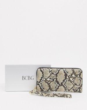 Кошелек со змеиным рисунком в подарочной упаковке -Коричневый BCBGeneration